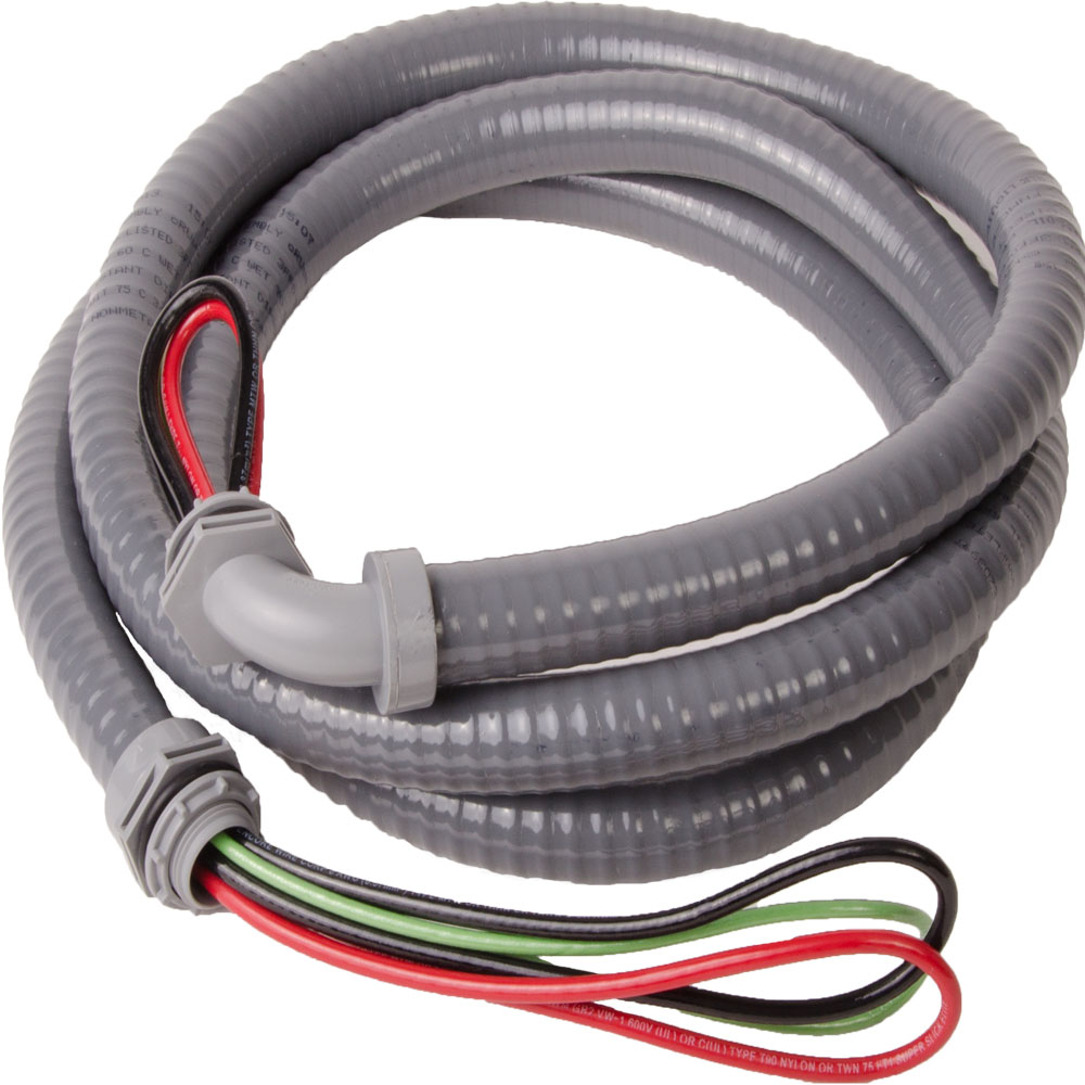 """1/2"""" x 6' Electrical A/C Whip Metallic Connector, Pallet Packs, #10 THNN Wire"""